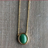Genuine Jade Oval Drop Pendant Necklace Canadian Jade Gold- Tone