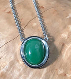 Genuine Jade Oval Drop Pendant Necklace Canadian Jade Silver-Tone