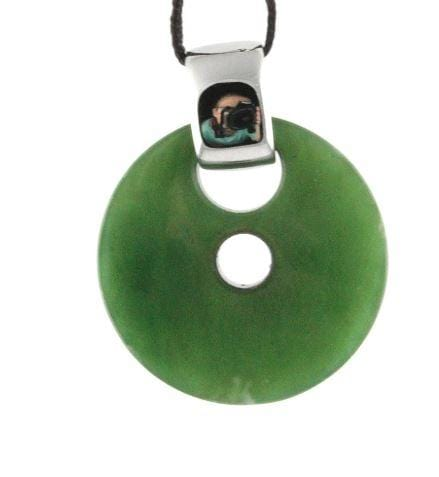 Genuine Jade Round Pendant Necklace Canadian Jade
