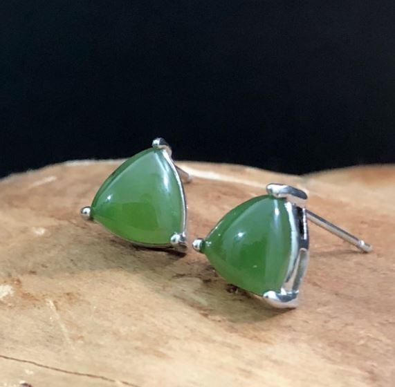 Genuine Jade Triangle Stud Sterling Silver Earrings Canadian Jade