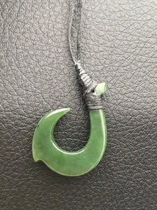 Genuine Nephrite Jade Fish Hook Pendant with Adjustable Necklace Canadian Jade