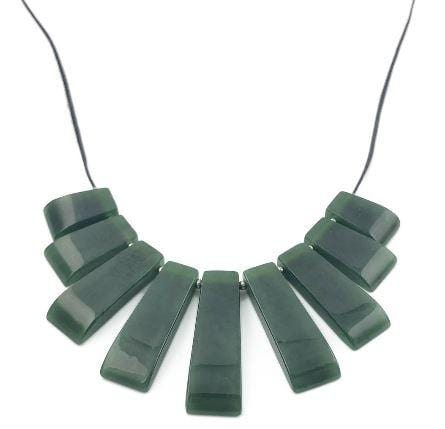 Genuine Nephrite Jade Rectangle Bib Necklace Canadian Jade