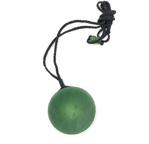 Genuine Nephrite Jade Round Disc Pendant Necklace Canadian Jade