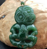 Genuine Nephrite Jade Tiki Pendant Necklace 2 Sizes Canadian Jade 37.5mm