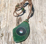 Geometric Jade & Abalone Pendant w/ Adjustable Necklace Canadian Jade