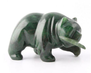 Grizzly Bear with Fish Nephrite Jade - Multiple Sizes Canadian Jade 1""