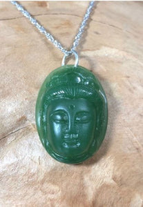Guanyin (Guan Yin)Nephrite Jade Head Pendant with Optional Necklace Women Canadian Jade 19mm x11mm Pendant Only