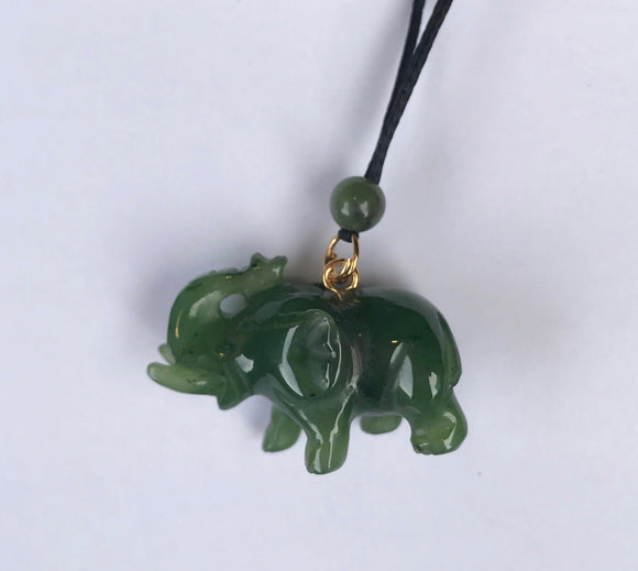 Hand Carved Canadian Jade Elephant Pendant Canadian Jade