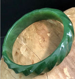 Hand Carved Canadian Nephrite Jade Twist Bangle Canadian Jade