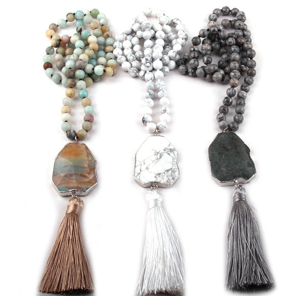 Hand Knotted Semi-Precious Stone Necklace/ Mala with Tassel Women's Jewelry