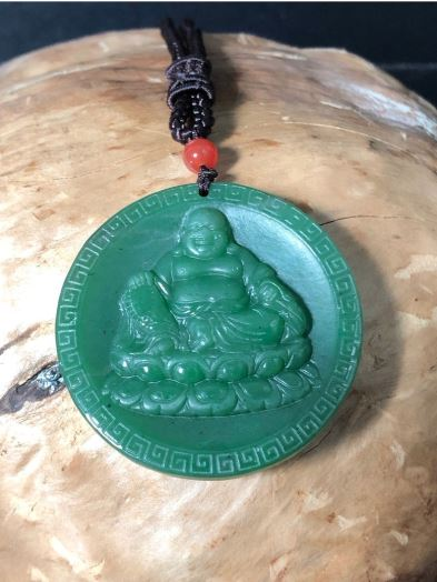 Happy Buddha Nephrite Jade Pendant and Necklace Canadian Jade