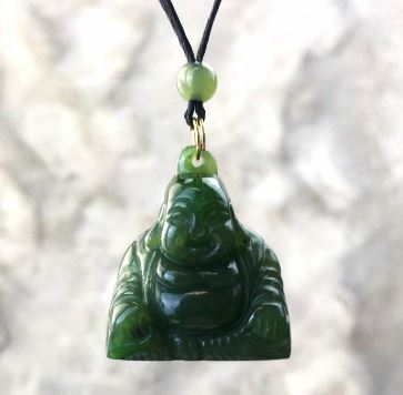 Happy Buddha Pendant Nephrite Jade with Adjustable Necklace Canadian Jade