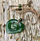 Heart Pendant 100% Nephrite Jade with Adjustable Necklace (Koru Design) Canadian Jade