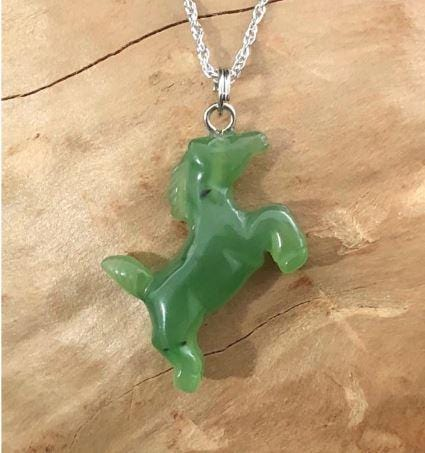Horse Nephrite Jade Charm Canadian Jade Silver Bail