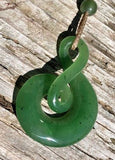 Infinity Twist Nephrite Jade Pendant with Adjustable Necklace Canadian Jade