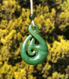 Infinity Twist Pendant Nephrite Jade with Adjustable Necklace Canadian Jade