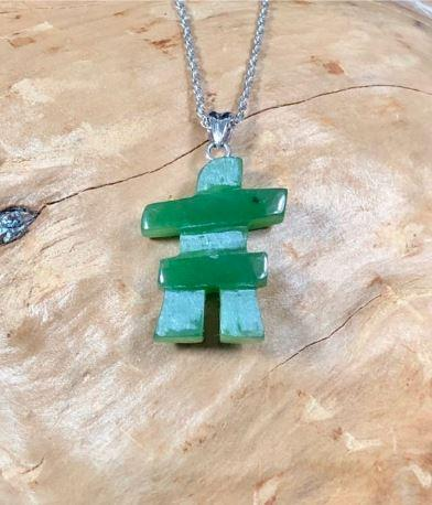 Inukshuk Pendant with Optional Sterling Necklace Canadian Jade