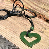 Jade Floating Heart Pendant Necklace Canadian Jade