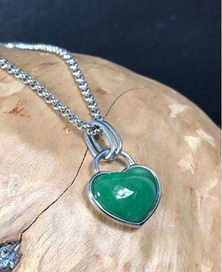 Jade Heart Pendant & Necklace Women Canadian Jade