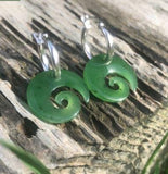 Koru Nephrite Jade Earrings Canadian Jade