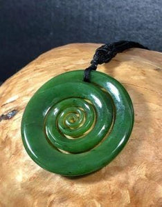 Koru Spiral Pendant Nephrite Jade with Adjustable Necklace Canadian Jade