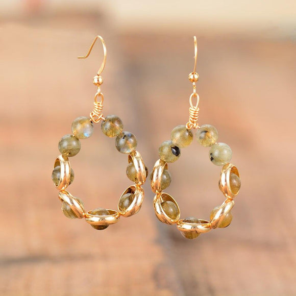 Labradorite Gold Tone Hoop Drop Earrings Jewelry