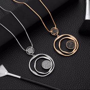 Large Circles Rhinestone Crystal Pendant & Necklace Women Jewelry