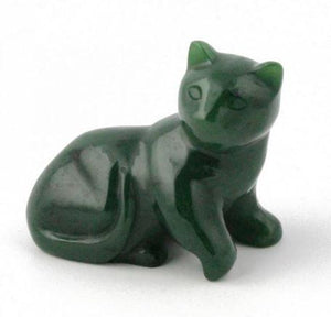 Laying Cat Nephrite Jade Canadian Jade 1""