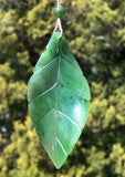 Leaf Pendant Nephrite Jade with Adjustable Cord Necklace Canadian Jade