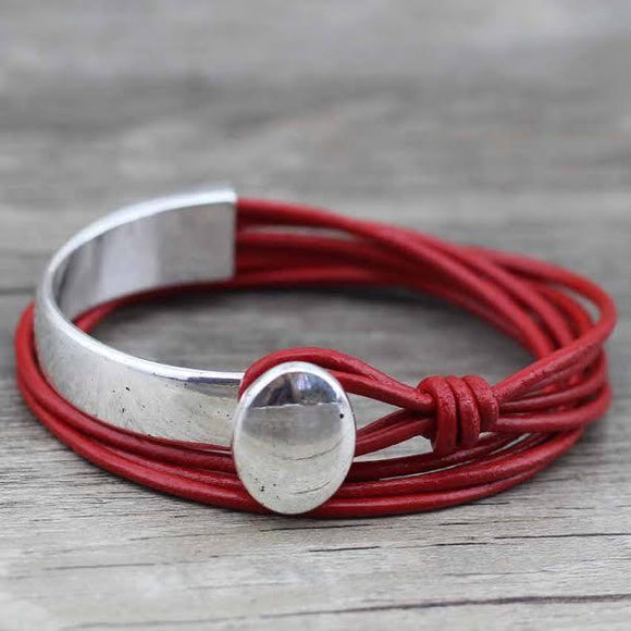 Leather Wrap Silver Bracelet Jewelry red