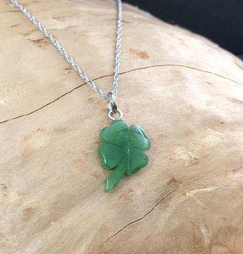 Lucky 4 Leaf Clover Nephrite Jade Charm with Optional Necklace Canadian Jade Charm+16