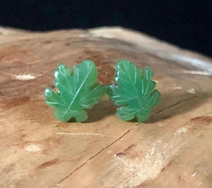 Maple Leaf Stud Earrings Nephrite Jade Women Canadian Jade