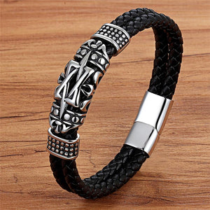 Men's Ancient Architecture Designed Genuine Leather Bracelet Jewelry 19cm