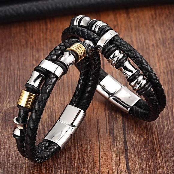 Men's Casual Style Stainless Steel Leather Bracelet Jewelry