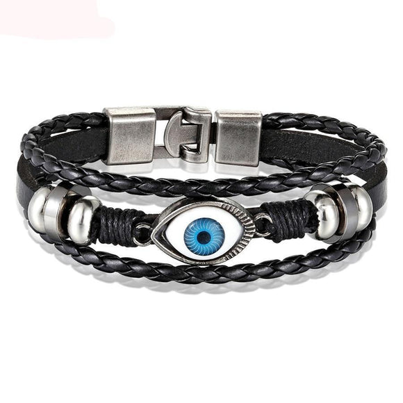 Men's Evil Eye Design Leather Bracelet Jewelry