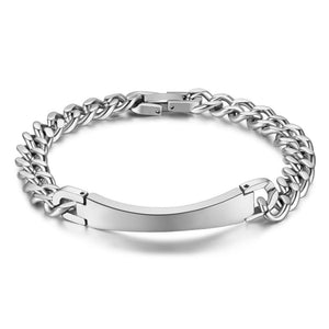 Men's Stainless Steel Curb Link ID Bracelets Jewelry Silver Steel