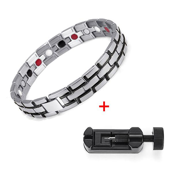 Men's Stainless Steel Healing Magnetic Bracelet 3 Health Care Elements Jewelry adjust 01S