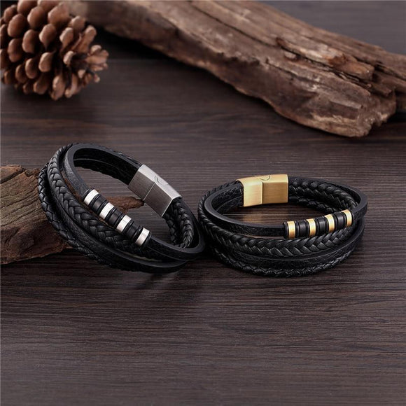Multi-layers Stainless Steel Braided Genuine Leather Men's Bracelet Jewelry