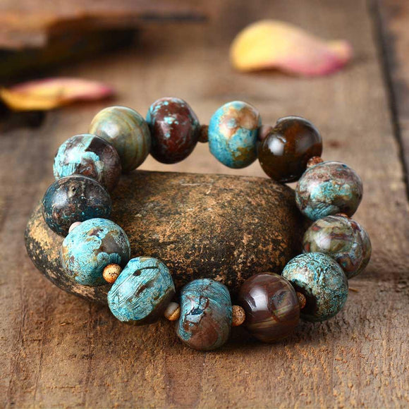 Natural Gemstone Beaded Jasper Bracelet Jewelry