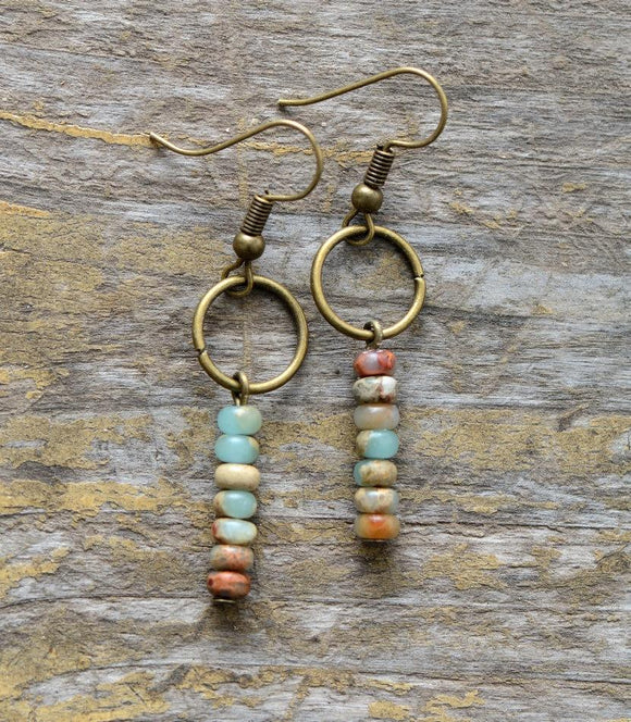 Natural Jasper Dangle Beaded Earrings Jewelry