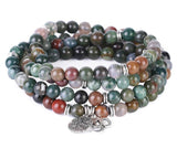 Natural Semi-Precious Gemstone Healing Indian Agate Necklace Mala Wrap Bracelet Women Jewelry