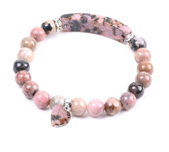 Natural Semi-precious Gemstone Rhodonite Bracelet Love Heart Women Jewelry