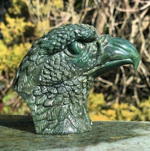 Nephrite Canadian Jade Eagle Head Carving Canadian Jade