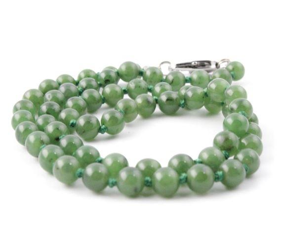 Nephrite Jade Bead Necklace 8mm Canadian Jade 18