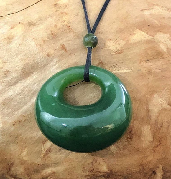 Nephrite Jade Circular Drop Pendant w/ Adjustable Necklace Canadian Jade