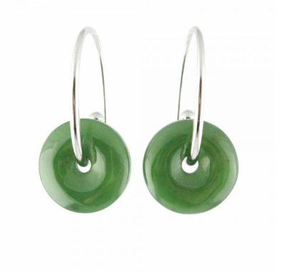 Nephrite Jade Disc Earrings Women Canadian Jade