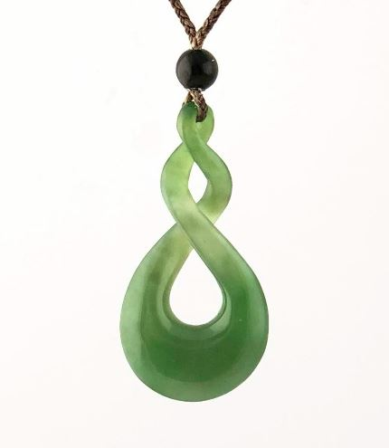 Nephrite Jade Double Infinity Twist Pendant with Adjustable Necklace Canadian Jade