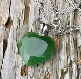 Nephrite Jade Faceted Heart Pendant Sterling Silver Necklace Canadian Jade
