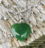Nephrite Jade Faceted Heart Pendant Sterling Silver Necklace Canadian Jade Pendant