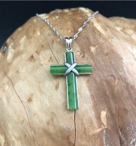 Nephrite Jade Inlaid Cross with Optional Sterling Necklace Canadian Jade